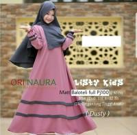 Baju gamis anak Listy Syari Kids CR Fit to 8 sd 10 Thn