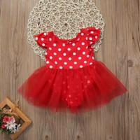 jumper dress bayi perempuan motif merah tutu polkadot