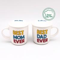 Mug Couple + Tutup / Best Mom Ever / Best Dad Ever / Mug Keramik