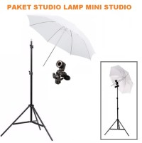 PAKET HEMAT mini studio lighting Lamp holder e27 dan payung