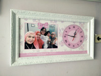 Custom hiasan jam dinding untuk kado atau hadiah shabby chic ungu