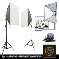 Lamp Holder 4 Socket Softbox with Light Stand Kit 2