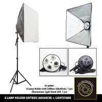 Lamp Holder 4 Socket Softbox with Light Stand Kit 1