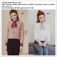 Baju Atasan Kemeja Scarf Wanita Korea Import AB821485 Tunik Putih Pink
