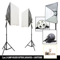 Paket Softbox (60x60cm) 4-Lamp Holder & Light Stand 200cm