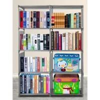 Rak buku portable / lemari serbaguna 2 sisi ukuran 85 x 30 x 125 cm