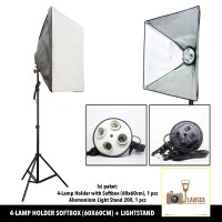 Paket Softbox (60x60cm) 4-Lamp Holder with Light Stand