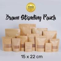 Kraft Paper Bag 15x22 FLAT | plastik ziplock | standing pouch
