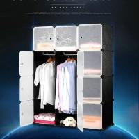 Magic Wardrobe Lemari Baju Plastik DIY 12 Pintu - Black