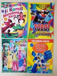 Buku Mewarnai Model Campur (Tobot, Super Hero, Sofia, dll) Uk 28Cm X 2