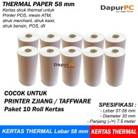 Thermal Paper 58 X 30 mm 10 Roll Kertas Struk Untuk ATM Printer Zjiang