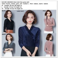 Baju Atasan Lengan Blouse Wanita Korea Import AB632960 Pink Hitam Biru