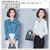 Baju Atasan Kemeja Putih Blouse Wanita Korea Import Tunik AB932892