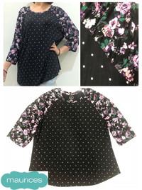 BBJ01579 Maurices Black Dotty Floral Bigsize Blouse Bigsize Baju Besar