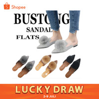BUSTONG Pom pom sandal / sendal teplek selop pompom bola bulu cewek