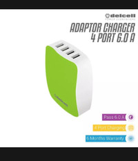 DELCELL ADAPTOR CHARGER 4 USB PORT 6 AMPERE