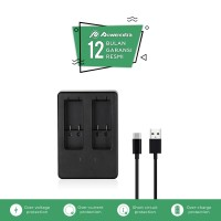 Dual Battery Charger with USB Type C Cable for GoPro HERO5, HERO6