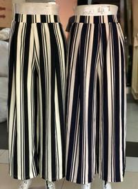 celana panjang bahan motif garis model kulot cewe wanita murmer