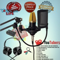 Paket Microphone BM700 Plus Stand Pop Filter dan Headphone SONY