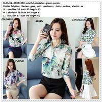 Baju Atasan Kemeja Wanita Putih Motif Korea Import AB533350 Tunik