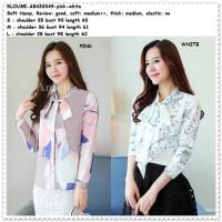 Baju Atasan Kemeja Motif Putih Pink Blouse Korea Import AB433349 Tunik