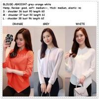 Baju Atasan Kemeja Putih Blouse Wanita Korea Import Tunik AB433347