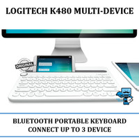 Keyboard Bluetooth Portable Logitech K480 White - Android, Win, IOS