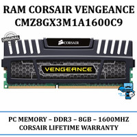 Memory RAM PC Corsair Vengeance 8GB DDR3 (CMZ8GX3M1A1600C9)