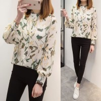 2018 Spring Summer New Plus Size 5XL Floral Female Blouse Chiffon Long