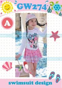Baju Renang / Swimsuit Stelan Rok Anak Perempuan Mini Pink