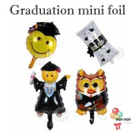 Balon Foil Graduation Wisuda Mini edition Smile, Owl, Tongkat Jubah
