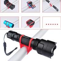 Silicone Strap Bike Bracket Mount Holder Flashlight Senter Sepeda