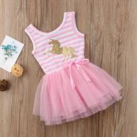 Dress bayi perempuan motif unicorn pinky tutu imut