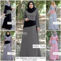 Baju Gamis Wanita Two Tone Maxi Dress / Long Dress Hijab Layer Murah