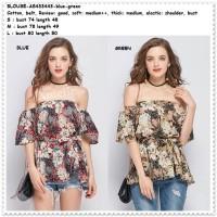 Baju Atasan Sabrina Sexy Floral Blouse Wanita Korea Import AB433443