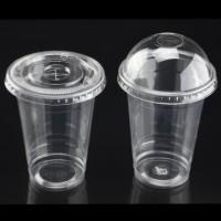 GELAS CUP PLASTIK PET BENING ALA STARBUCKS 12 OZ + TUTUP FLAT (360ML)