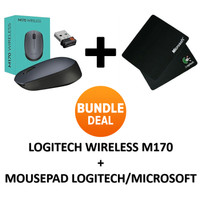 Mouse Wireless Logitech M170 + Mousepad Logitech / Microsoft Black