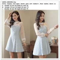 Party Mini Dress Gaun Pesta Korea Import AB533056 Kotak Biru Putih