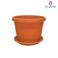 Claris Pot Bunga Plastik Florence Free Tatakan Pot - Coklat 5835