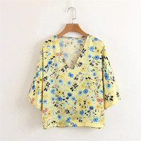 Yellow Floral V Neck Blouse