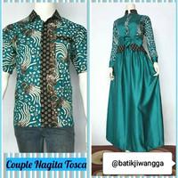 Baju Couple Dress Gamis Muslimah & Kemeja Batik Jiwangga Nagita Tosca