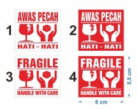 Sticker Fragile handle with care Stiker Awas Pecah 6 x 5,5 cm