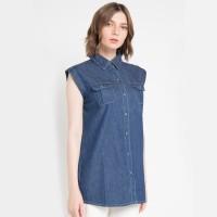 Miyoshi Josei DEMJ002BL Shir Jeans Sleeveless Dark Blue