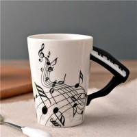 Gelas Cangkir Mug Cangkir Keramik Musik Bentuk Unik