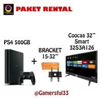"PS4 Slim 500GB 2 Stik Original Free Bracket Tv 32 & Coocaa Smart 32 """