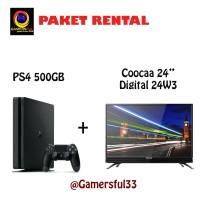 PS4 Slim 2 Stik Original 500GB & Coocaa Led Tv 24 Inch 24W3