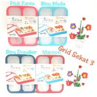 Yooyee Kotak Makan Grid Bento Lunch Box 3 Sekat Anti Bocor (LeakProff)