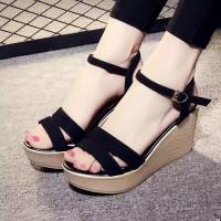 Sandal Wedges Wanita Tali Nesya SDW287 Hitam