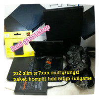 PS2 SLIM seri.7 multi fungsi optik + hdd external 60gb full game
