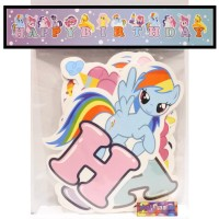 Banner little Pony - Bunting Flag Happy Birthday kuda poni ulang tahun